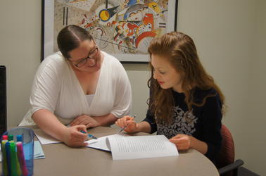 Students tutoring in the Writing Center