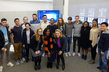 A group of students and guest experts are pictured with Heather Klemann, the instructor of an English 114 course held in the CTL.
