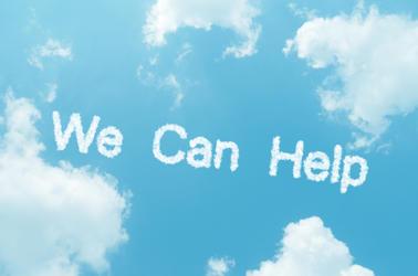 we can help written on sky