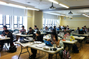 Writing bootcamp study hall full of students