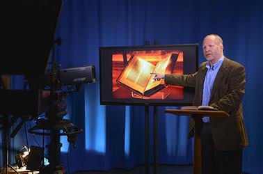 Professor Bruce Gordon records a lecture in the Yale Broadcast Studio