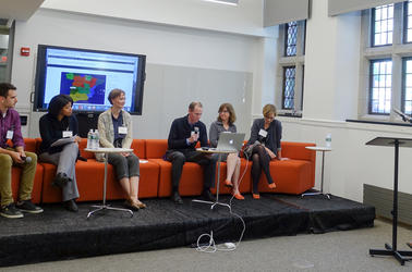 Brett C. Smith, Tracie Addy, Leslie Harkema, Trip Kirkpatrick, Kathryn Slanski, Agnete lassen present, while sitting on an orange coach during the Technology Forum